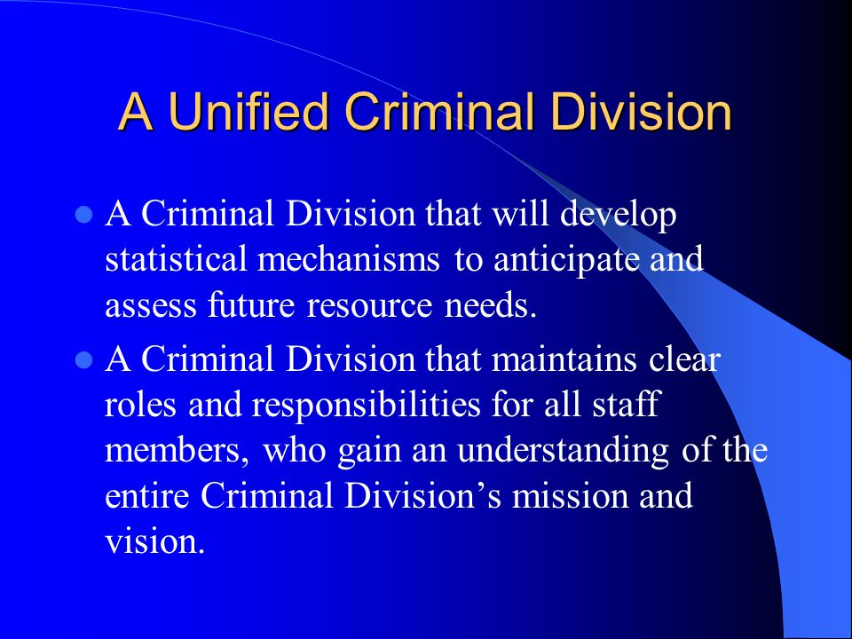 A Unified Criminal Division A Criminal Division that will develop statistical mechanisms to anticipate and assess future resource needs.