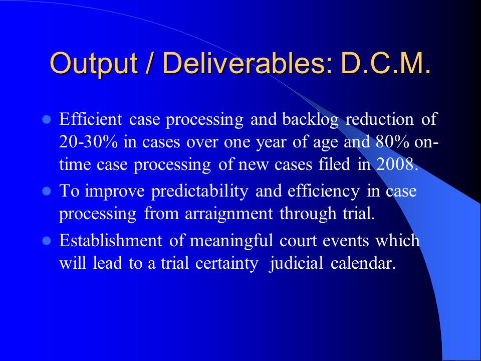 Output / Deliverables: D.C.M.