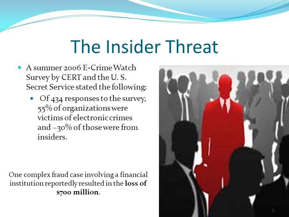The Insider Threat A summer 2006 E-Crime Watch Survey by CERT and the U.