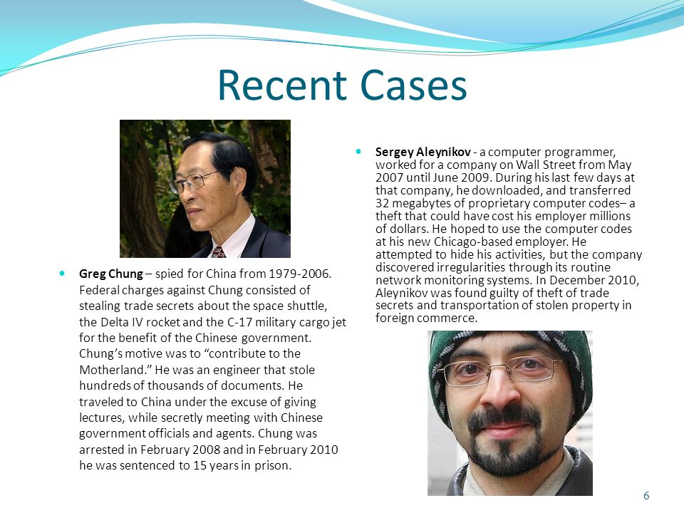 Recent Cases Greg Chung – spied for China from 1979-2006.