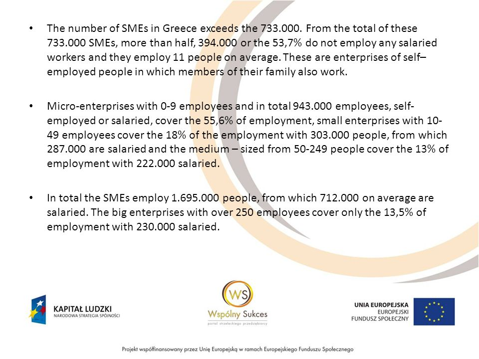 The number of SMEs in Greece exceeds the 733.000.