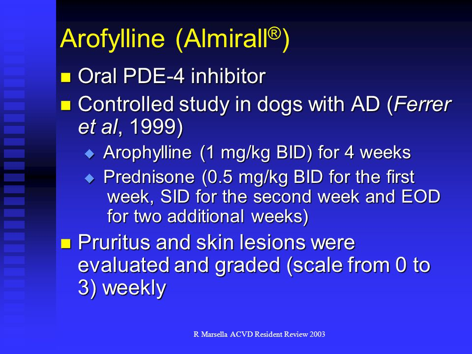 R Marsella ACVD Resident Review 2003 Arofylline (Almirall ® ) Oral PDE-4 inhibitor Oral PDE-4 inhibitor Controlled study in dogs with AD (Ferrer et al, 1999) Controlled study in dogs with AD (Ferrer et al, 1999)  Arophylline (1 mg/kg BID) for 4 weeks  Prednisone (0.5 mg/kg BID for the first week, SID for the second week and EOD for two additional weeks) Pruritus and skin lesions were evaluated and graded (scale from 0 to 3) weekly Pruritus and skin lesions were evaluated and graded (scale from 0 to 3) weekly