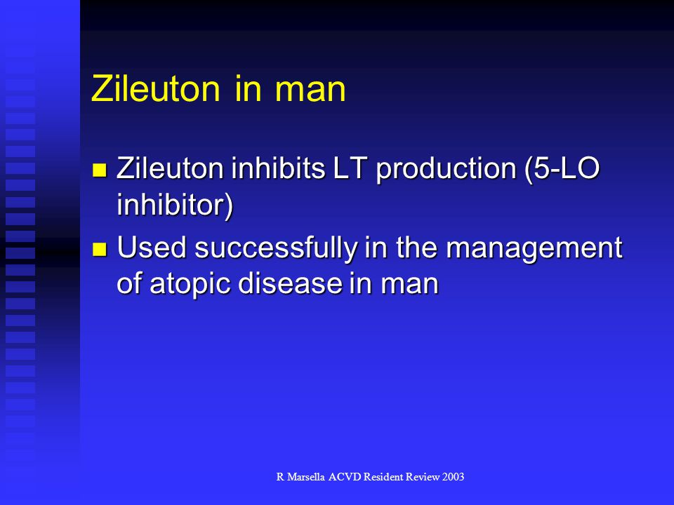 R Marsella ACVD Resident Review 2003 Zileuton in man Zileuton inhibits LT production (5-LO inhibitor) Zileuton inhibits LT production (5-LO inhibitor) Used successfully in the management of atopic disease in man Used successfully in the management of atopic disease in man