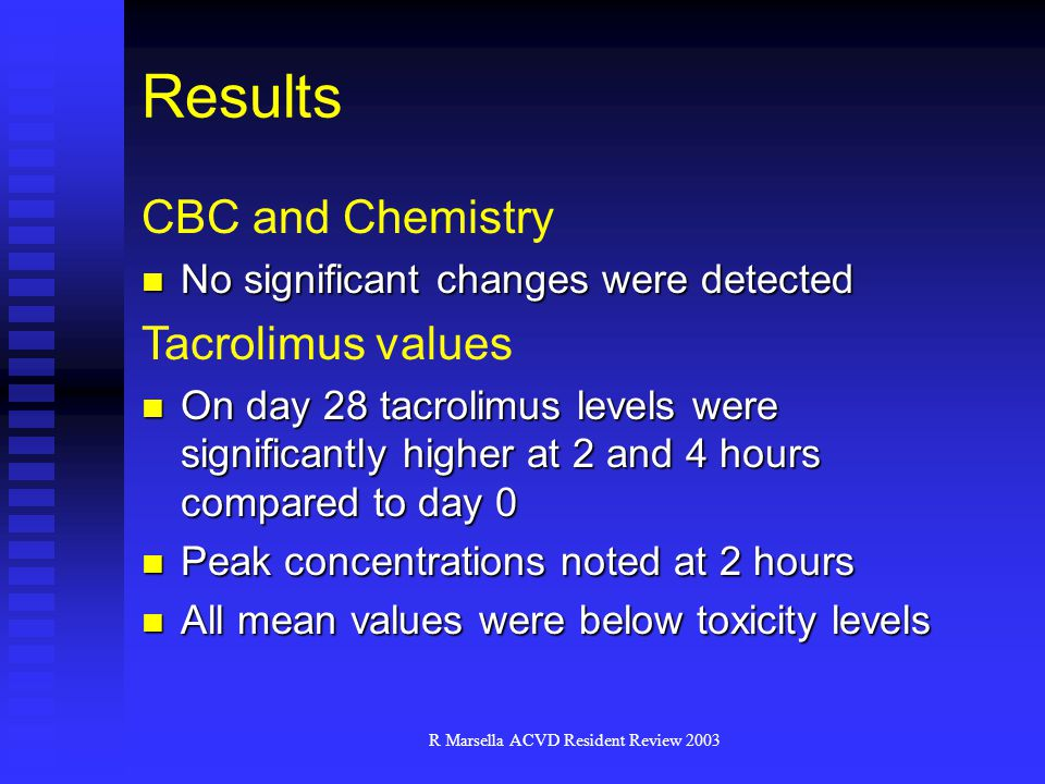 R Marsella ACVD Resident Review 2003 Results CBC and Chemistry No significant changes were detected No significant changes were detected Tacrolimus values On day 28 tacrolimus levels were significantly higher at 2 and 4 hours compared to day 0 On day 28 tacrolimus levels were significantly higher at 2 and 4 hours compared to day 0 Peak concentrations noted at 2 hours Peak concentrations noted at 2 hours All mean values were below toxicity levels All mean values were below toxicity levels