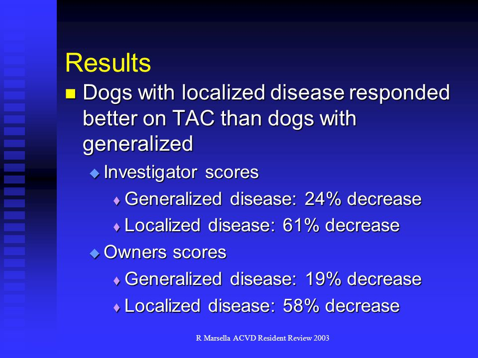 R Marsella ACVD Resident Review 2003 Results Dogs with localized disease responded better on TAC than dogs with generalized Dogs with localized disease responded better on TAC than dogs with generalized  Investigator scores  Generalized disease: 24% decrease  Localized disease: 61% decrease  Owners scores  Generalized disease: 19% decrease  Localized disease: 58% decrease