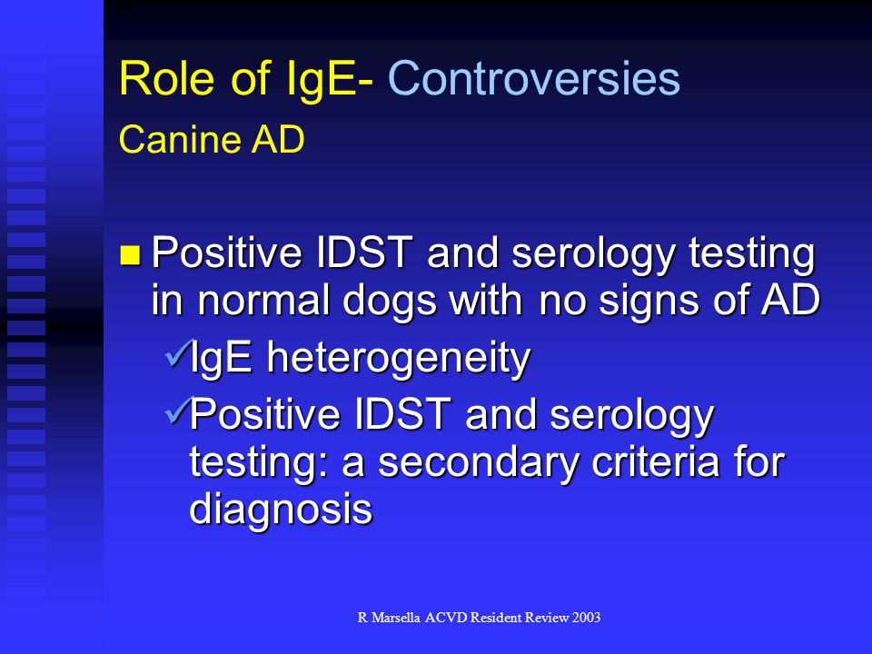 R Marsella ACVD Resident Review 2003 Positive IDST and serology testing in normal dogs with no signs of AD Positive IDST and serology testing in normal dogs with no signs of AD IgE heterogeneity IgE heterogeneity Positive IDST and serology testing: a secondary criteria for diagnosis Positive IDST and serology testing: a secondary criteria for diagnosis Role of IgE- Controversies Canine AD