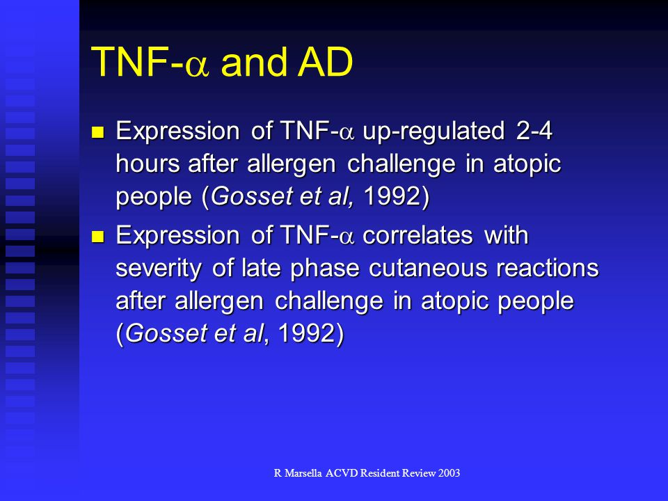 R Marsella ACVD Resident Review 2003 TNF-  and AD Expression of TNF-  up-regulated 2-4 hours after allergen challenge in atopic people (Gosset et al, 1992) Expression of TNF-  up-regulated 2-4 hours after allergen challenge in atopic people (Gosset et al, 1992) Expression of TNF-  correlates with severity of late phase cutaneous reactions after allergen challenge in atopic people (Gosset et al, 1992) Expression of TNF-  correlates with severity of late phase cutaneous reactions after allergen challenge in atopic people (Gosset et al, 1992)