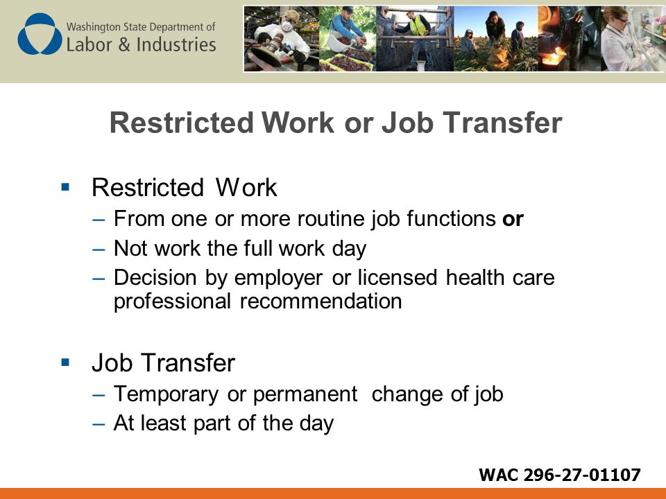 Restricted Work or Job Transfer  Restricted Work –From one or more routine job functions or –Not work the full work day –Decision by employer or lice