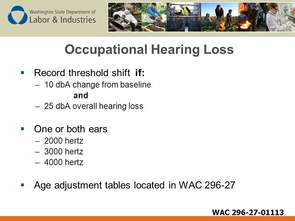 Occupational Hearing Loss  Record threshold shift if: –10 dbA change from baseline and –25 dbA overall hearing loss  One or both ears –2000 hertz –3000 hertz –4000 hertz  Age adjustment tables located in WAC 296-27 WAC 296-27-01113