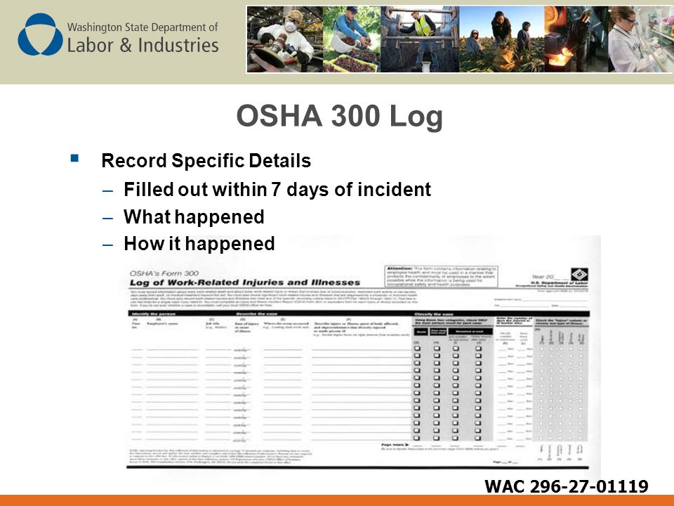 OSHA 300 Log  Record Specific Details –Filled out within 7 days of incident –What happened –How it happened WAC 296-27-01119