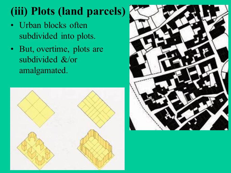 (iii) Plots (land parcels) Urban blocks often subdivided into plots.