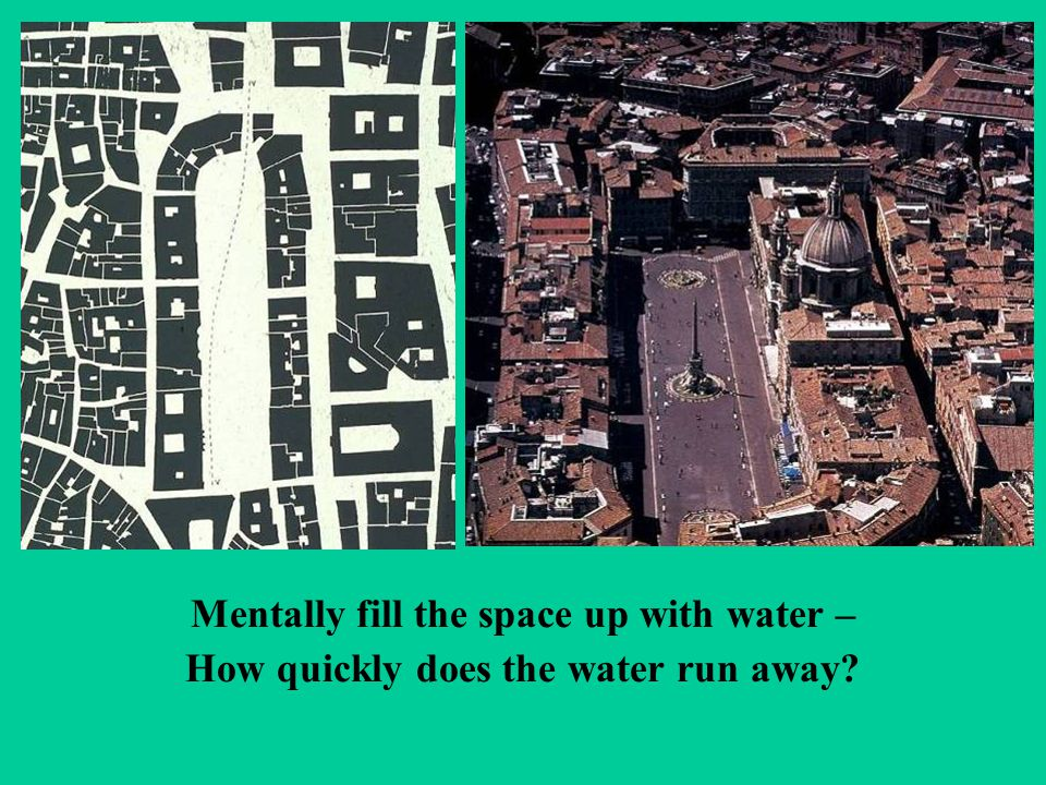 Mentally fill the space up with water – How quickly does the water run away