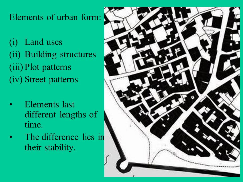 Elements of urban form: (i)Land uses (ii)Building structures (iii)Plot patterns (iv)Street patterns Elements last different lengths of time.