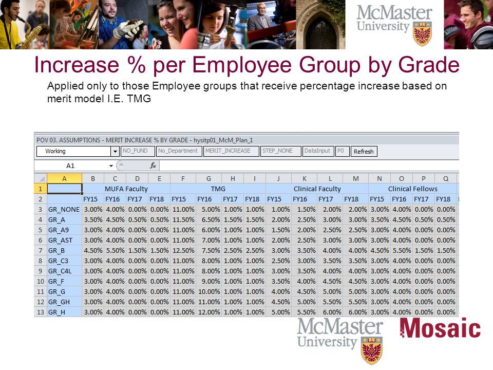 Increase % per Employee Group by Grade Applied only to those Employee groups that receive percentage increase based on merit model I.E.