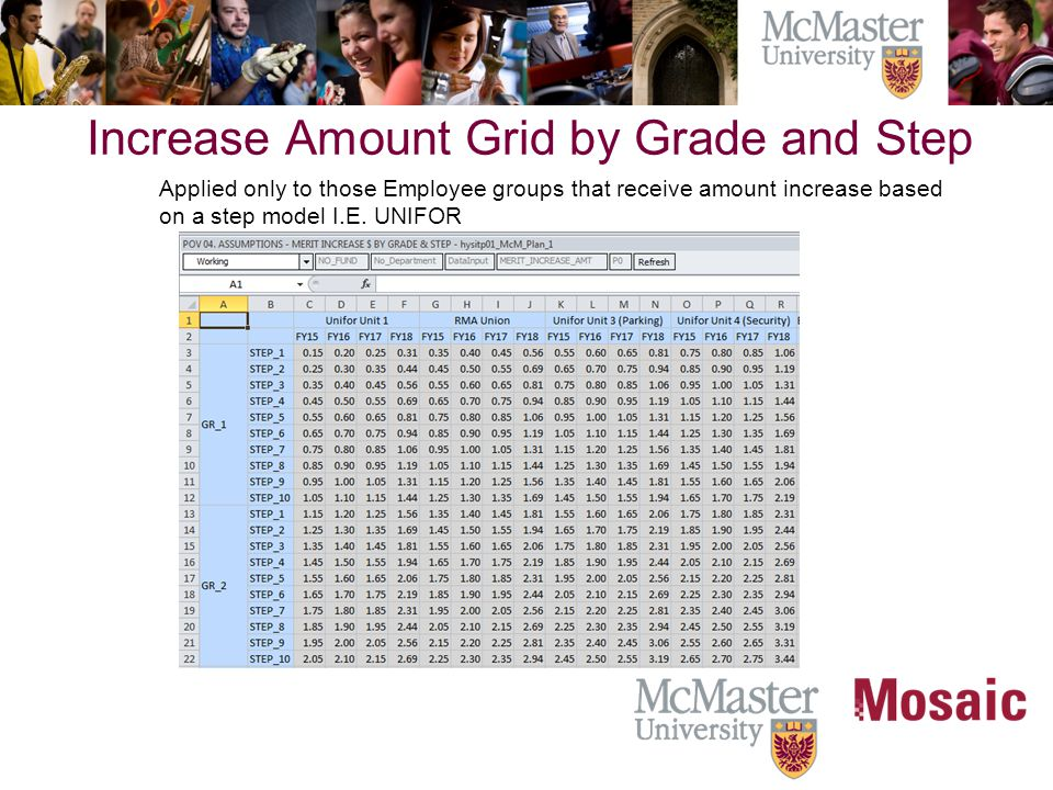 Increase Amount Grid by Grade and Step Applied only to those Employee groups that receive amount increase based on a step model I.E.