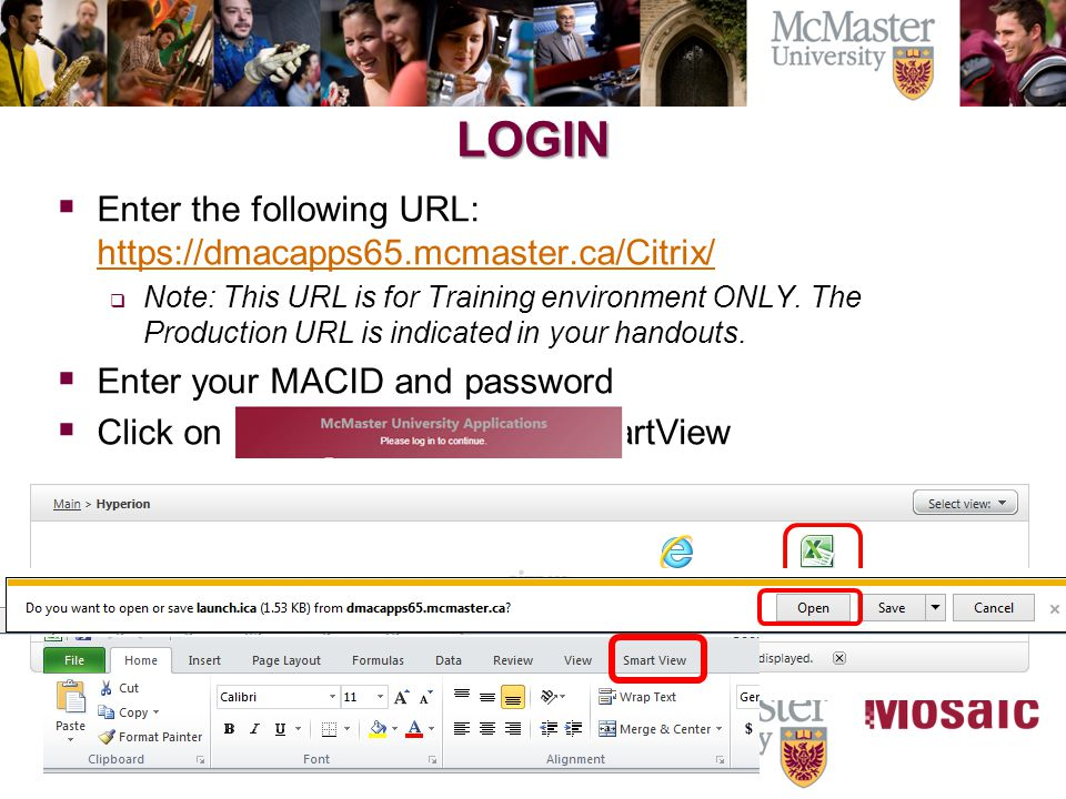 LOGIN  Enter the following URL: https://dmacapps65.mcmaster.ca/Citrix/ https://dmacapps65.mcmaster.ca/Citrix/  Note: This URL is for Training environment ONLY.