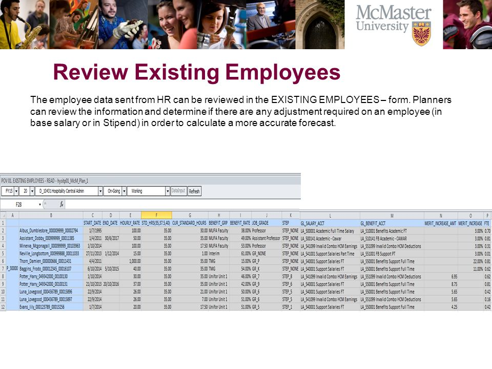 Review Existing Employees The employee data sent from HR can be reviewed in the EXISTING EMPLOYEES – form.