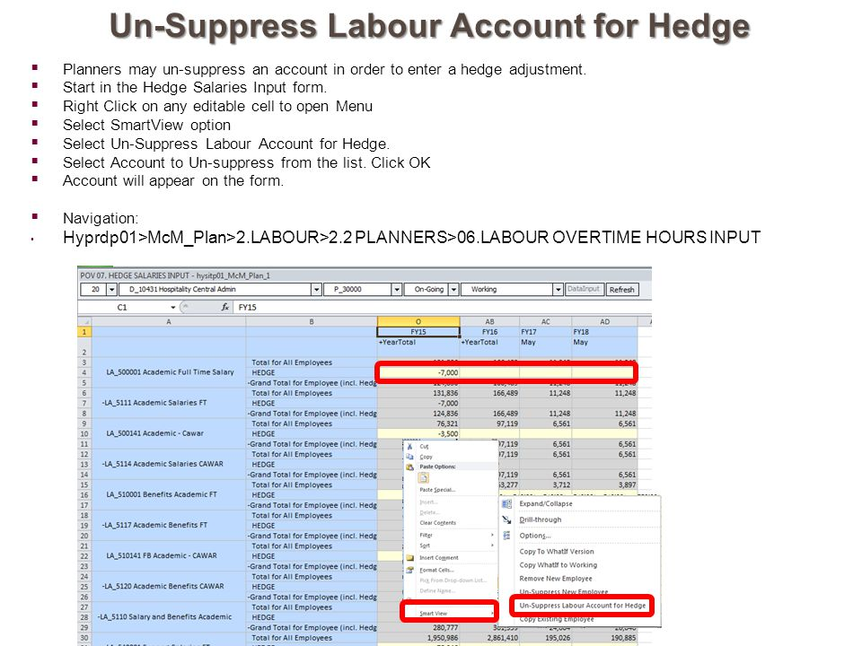 Un-Suppress Labour Account for Hedge  Planners may un-suppress an account in order to enter a hedge adjustment.