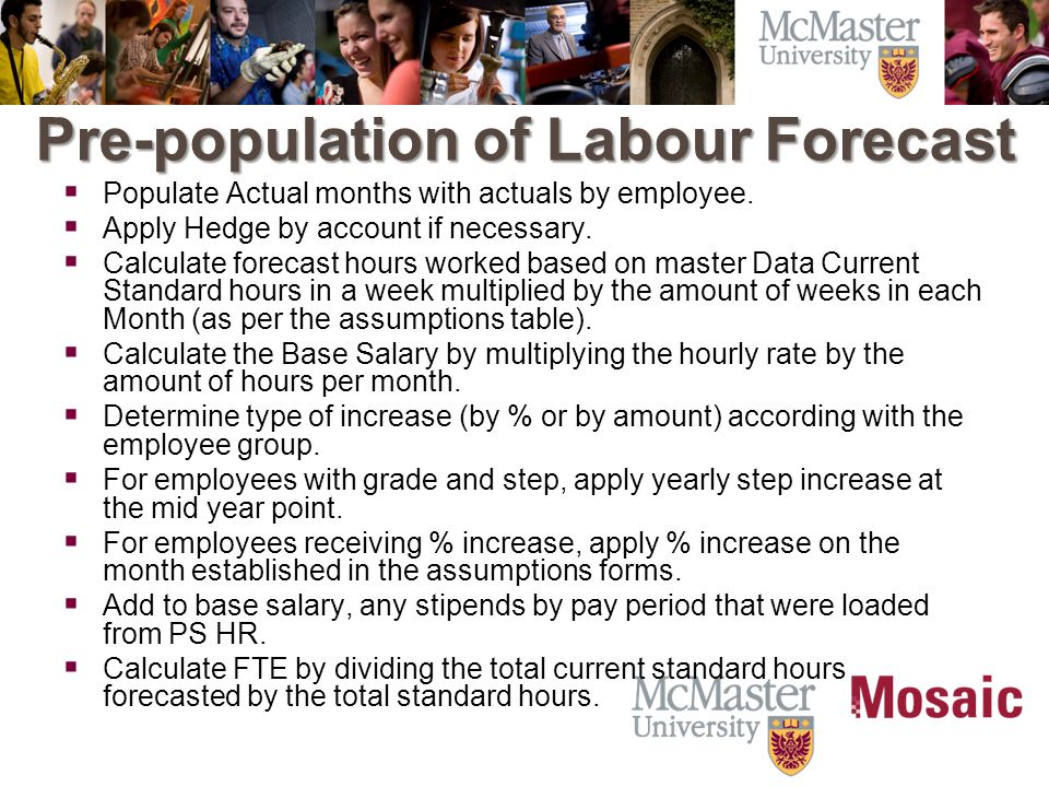 Pre-population of Labour Forecast  Populate Actual months with actuals by employee.