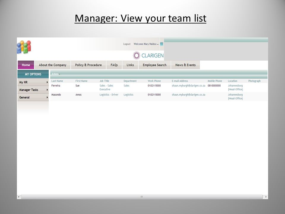 Manager: View your team list