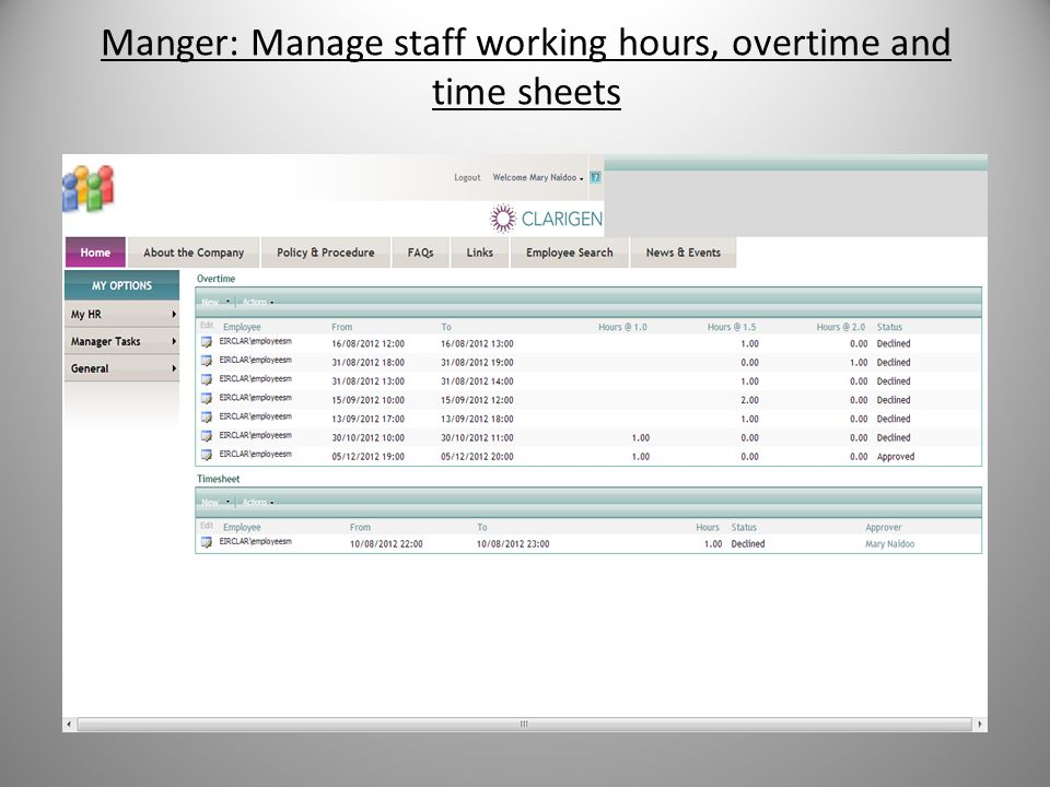 Manger: Manage staff working hours, overtime and time sheets