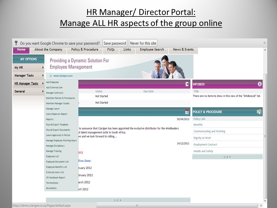 HR Manager/ Director Portal: Manage ALL HR aspects of the group online