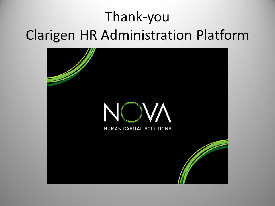 Thank-you Clarigen HR Administration Platform