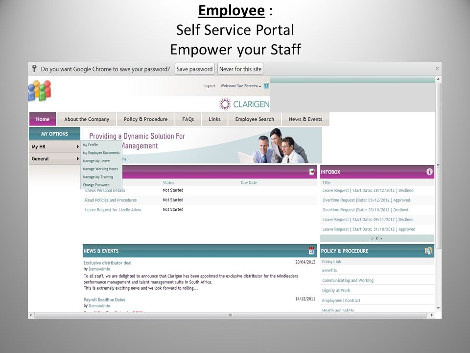 Employee : Self Service Portal Empower your Staff
