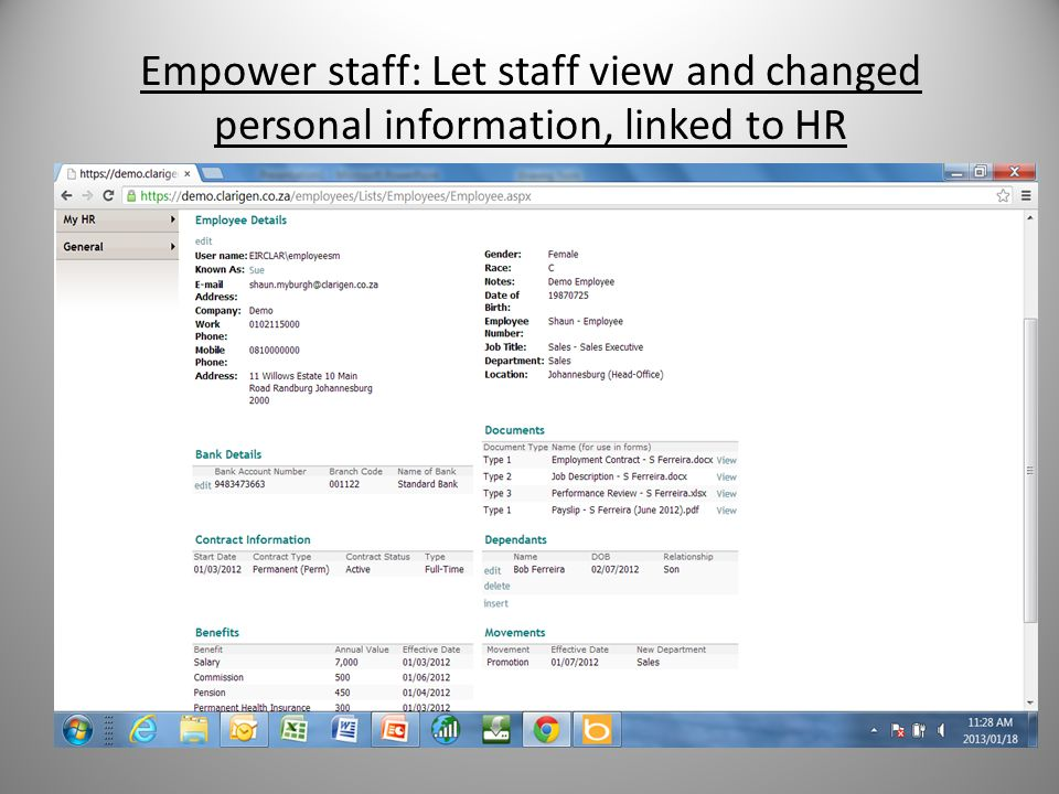 Empower staff: Let staff view and changed personal information, linked to HR