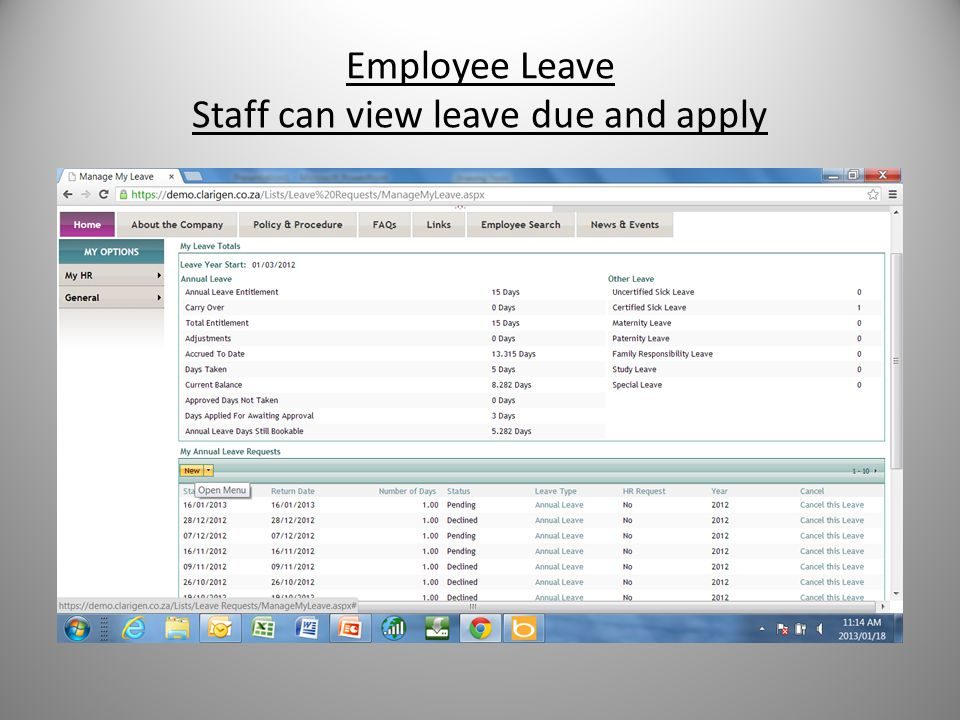 Employee Leave Staff can view leave due and apply