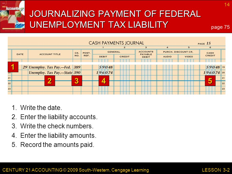 CENTURY 21 ACCOUNTING © 2009 South-Western, Cengage Learning 14 LESSON 3-2 5.Record the amounts paid.