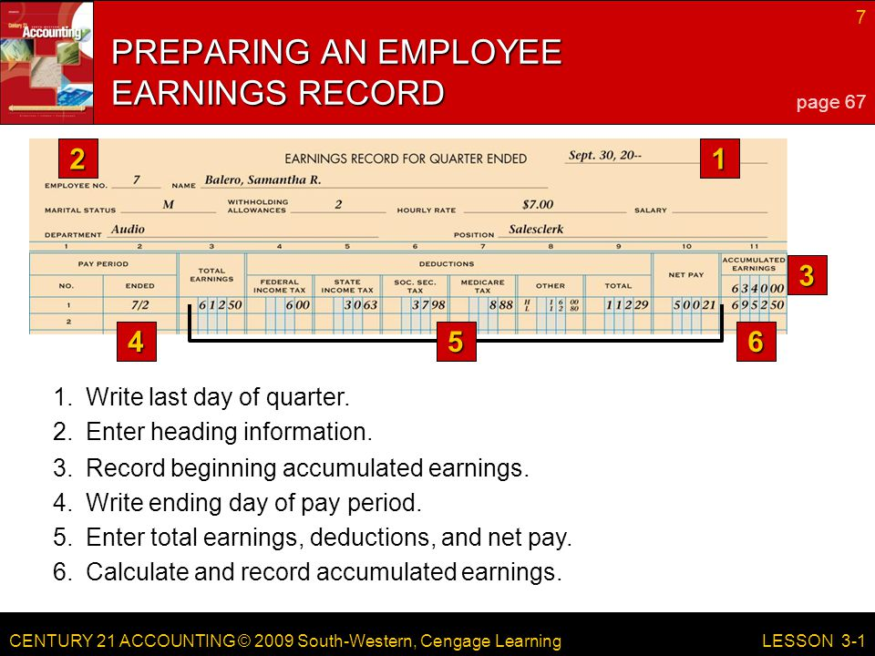 CENTURY 21 ACCOUNTING © 2009 South-Western, Cengage Learning 7 LESSON 3-1 3.Record beginning accumulated earnings.