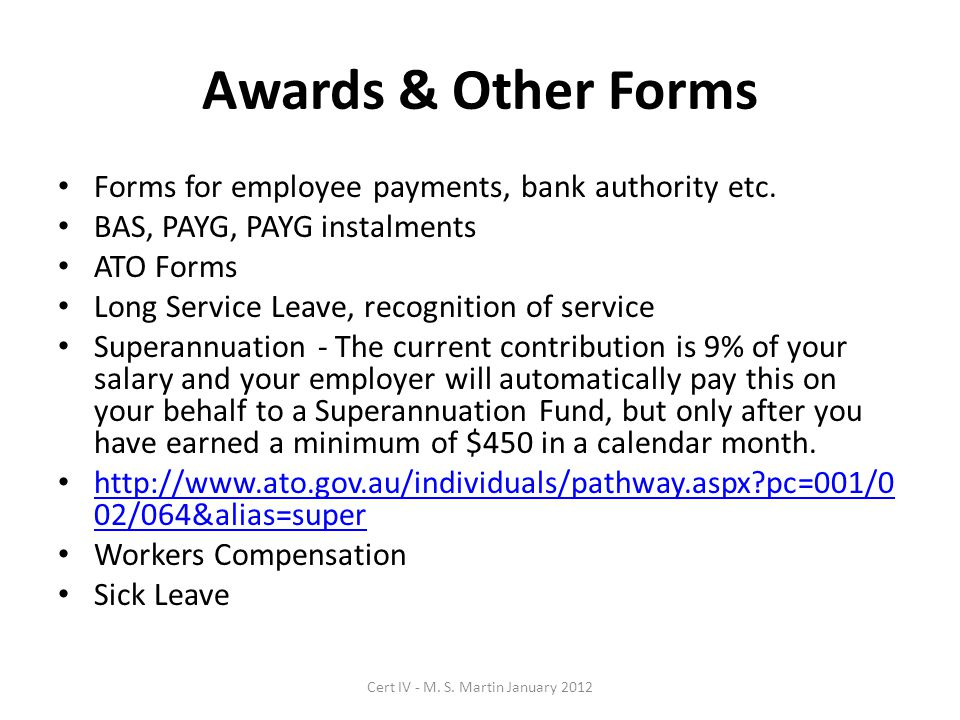Awards & Other Forms Forms for employee payments, bank authority etc.