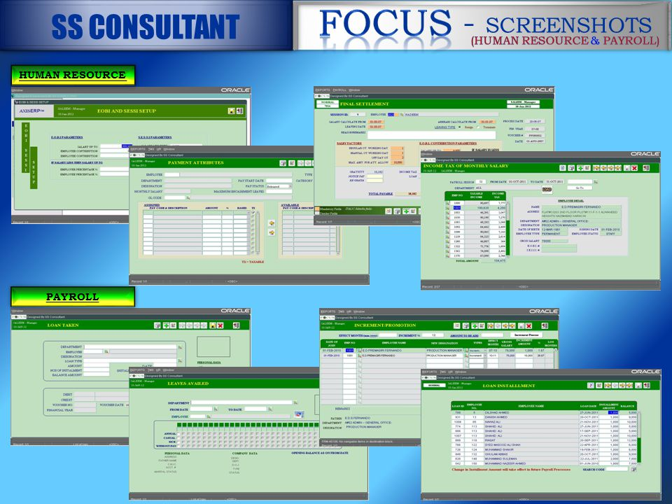 HUMAN RESOURCE PAYROLL - SCREENSHOTS - SCREENSHOTS SS CONSULTANT