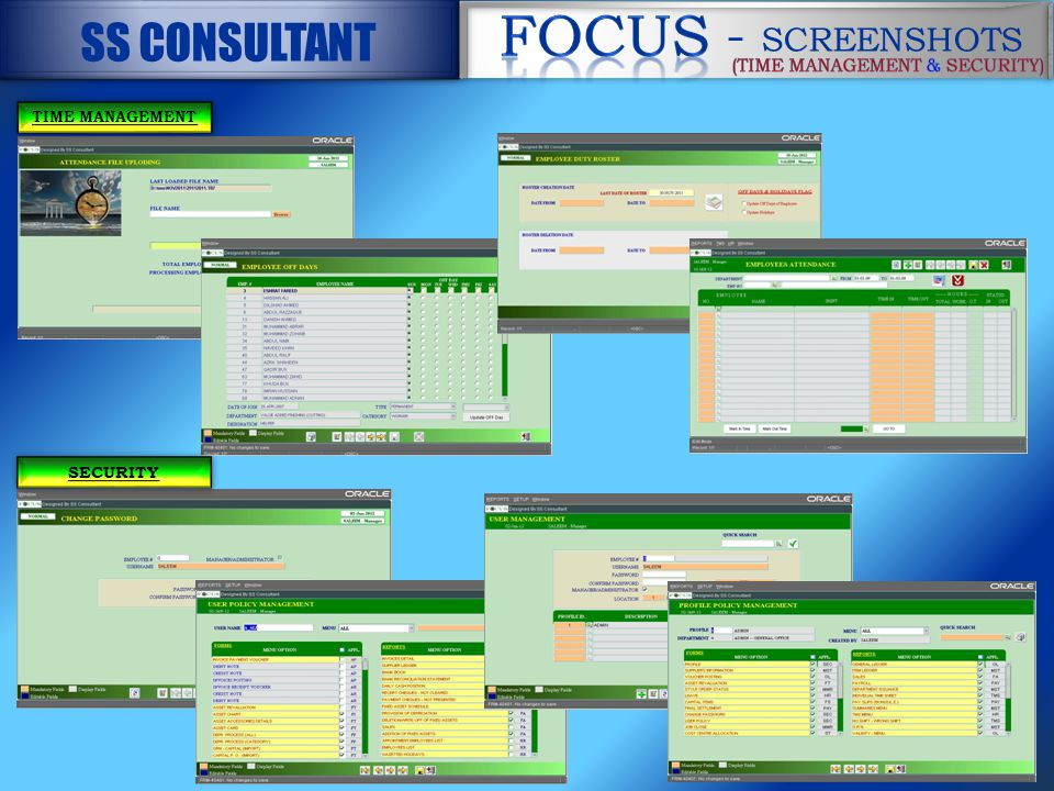 TIME MANAGEMENT SECURITY - SCREENSHOTS - SCREENSHOTS SS CONSULTANT