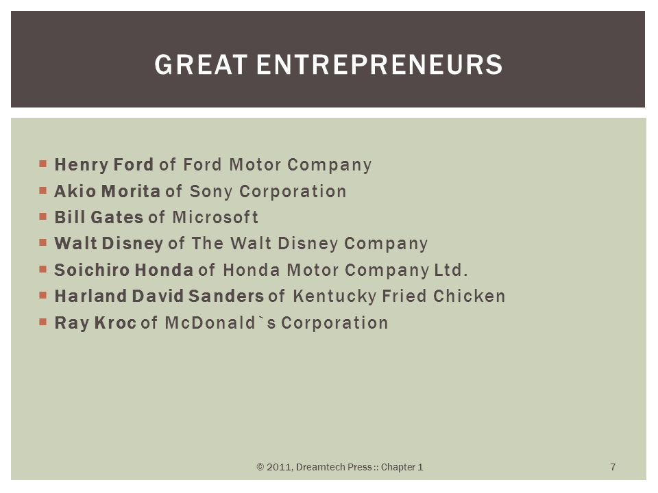  Henry Ford of Ford Motor Company  Akio Morita of Sony Corporation  Bill Gates of Microsoft  Walt Disney of The Walt Disney Company  Soichiro Hon