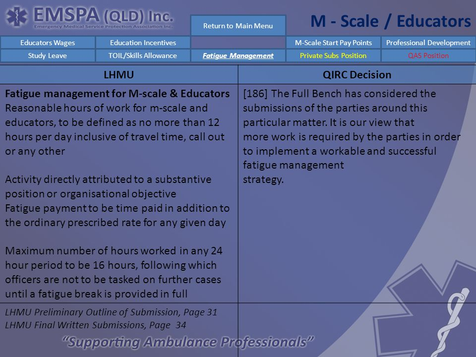 M - Scale / Educators LHMUQIRC Decision Fatigue management for M-scale & Educators Reasonable hours of work for m-scale and educators, to be defined as no more than 12 hours per day inclusive of travel time, call out or any other Activity directly attributed to a substantive position or organisational objective Fatigue payment to be time paid in addition to the ordinary prescribed rate for any given day Maximum number of hours worked in any 24 hour period to be 16 hours, following which officers are not to be tasked on further cases until a fatigue break is provided in full [186] The Full Bench has considered the submissions of the parties around this particular matter.