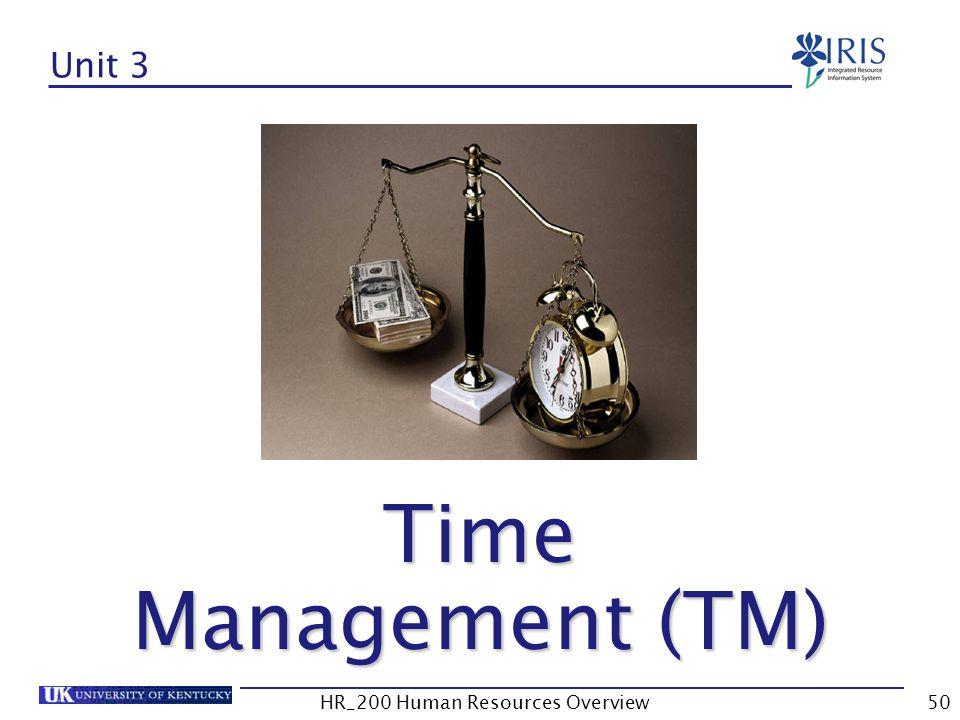 Unit 3 Time Management (TM) Time Management (TM) HR_200 Human Resources Overview50