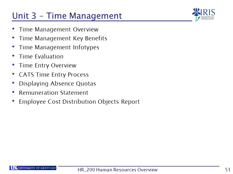 Unit 3 – Time Management Time Management Overview Time Management Key Benefits Time Management Infotypes Time Evaluation Time Entry Overview CATS Time