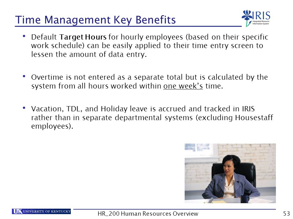 Time Management Key Benefits Default Target Hours for hourly employees (based on their specific work schedule) can be easily applied to their time ent