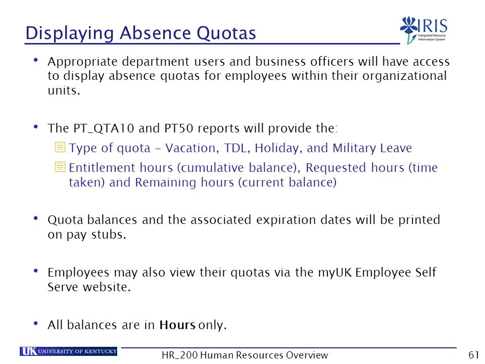 Displaying Absence Quotas Appropriate department users and business officers will have access to display absence quotas for employees within their org