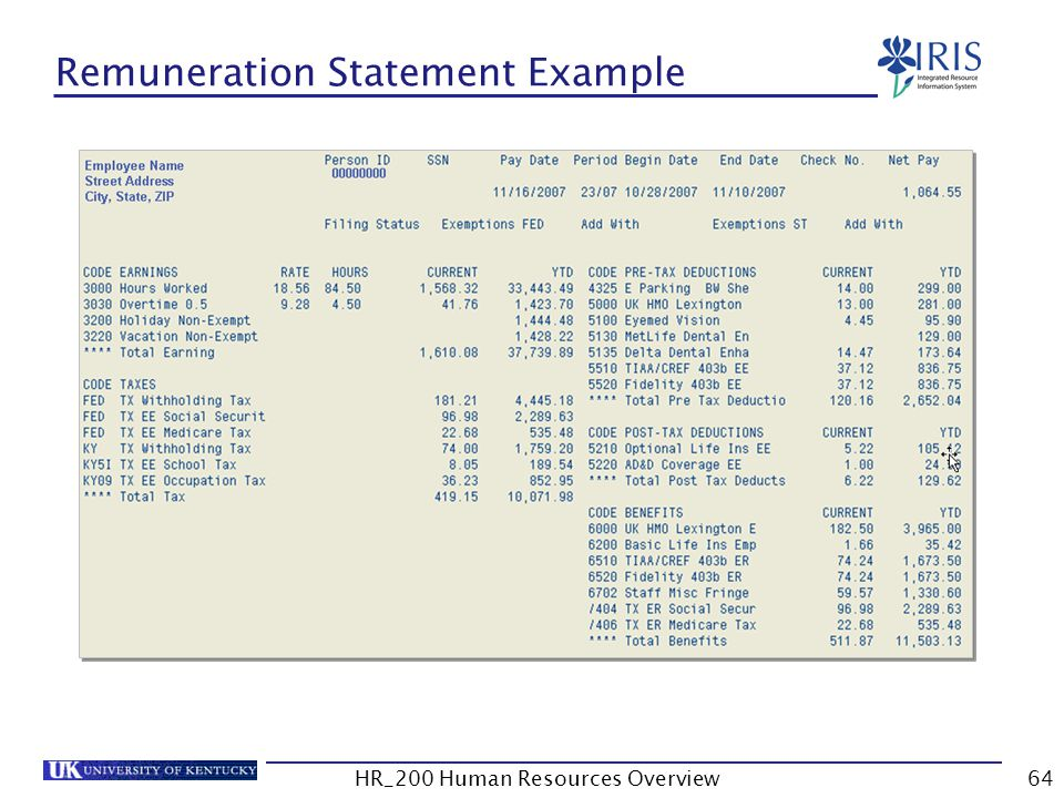 Remuneration Statement Example HR_200 Human Resources Overview64