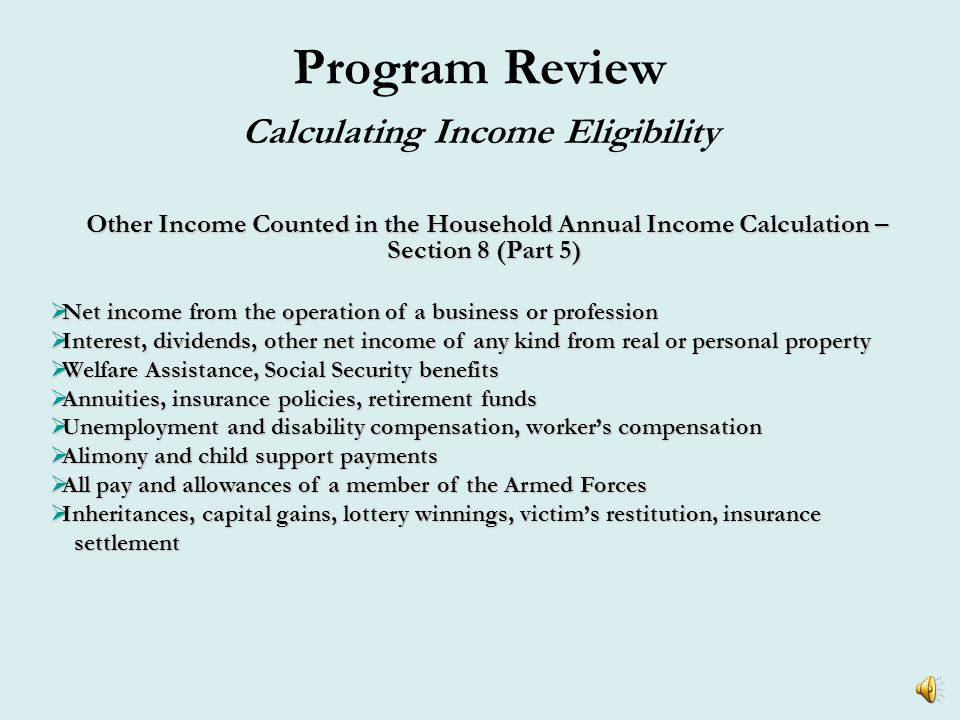 Program Review Calculating Income Eligibility Total Household Annual Income Total Annual Income from Wages: John$17,880.00 Mary$ 3,600.00 Josh$ 8,699.60 Sophie$ 0.00 Total King's Annual Income$30,179.60 Is the family income eligible