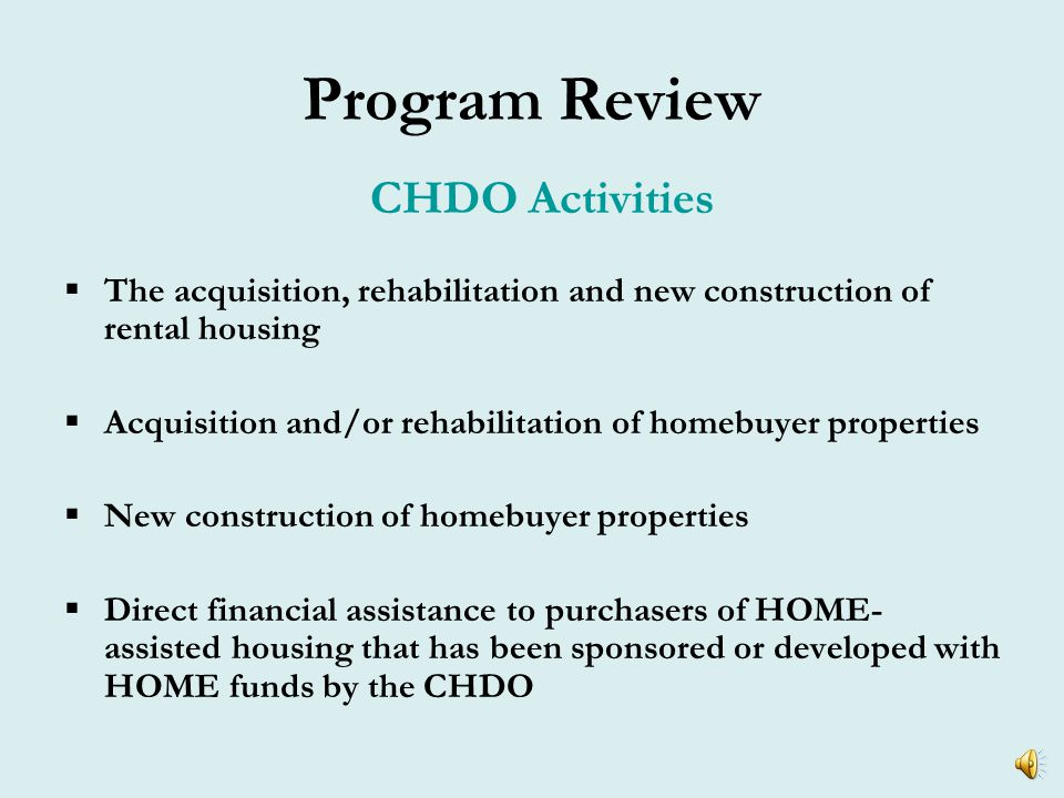 Program Review CHDO Capacity.