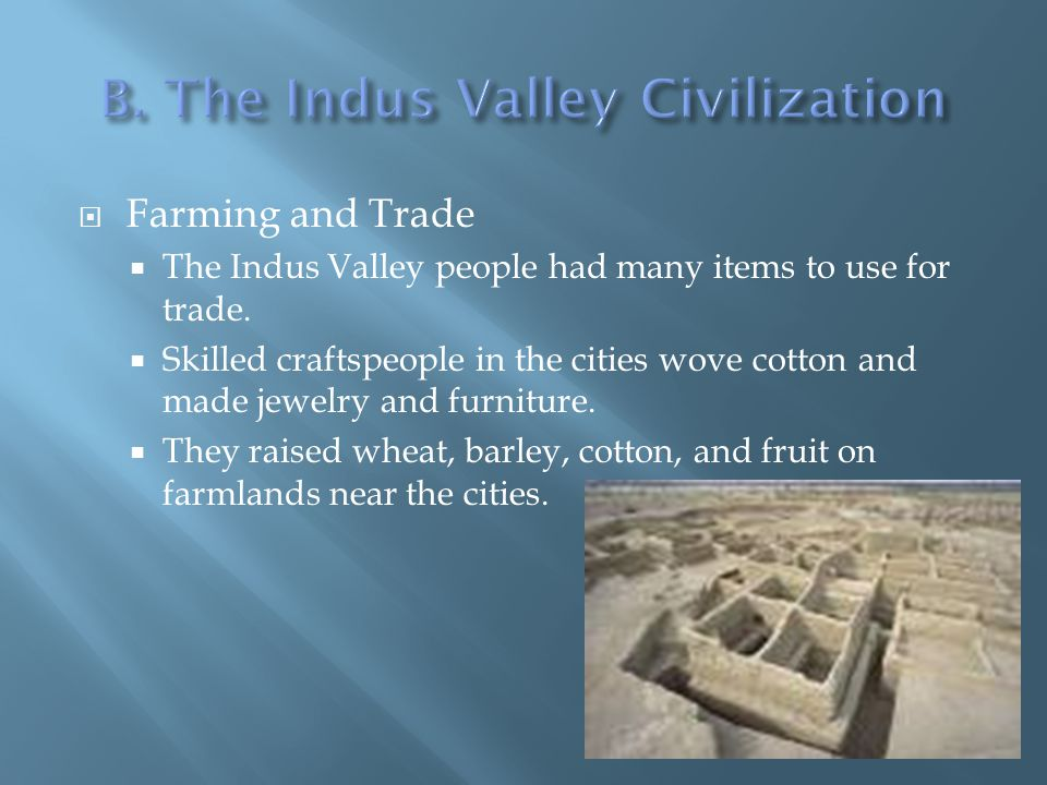  Farming and Trade  The Indus Valley people had many items to use for trade.