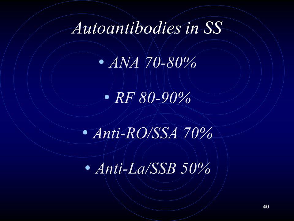 40 Autoantibodies in SS ANA 70-80% RF 80-90% Anti-RO/SSA 70% Anti-La/SSB 50%