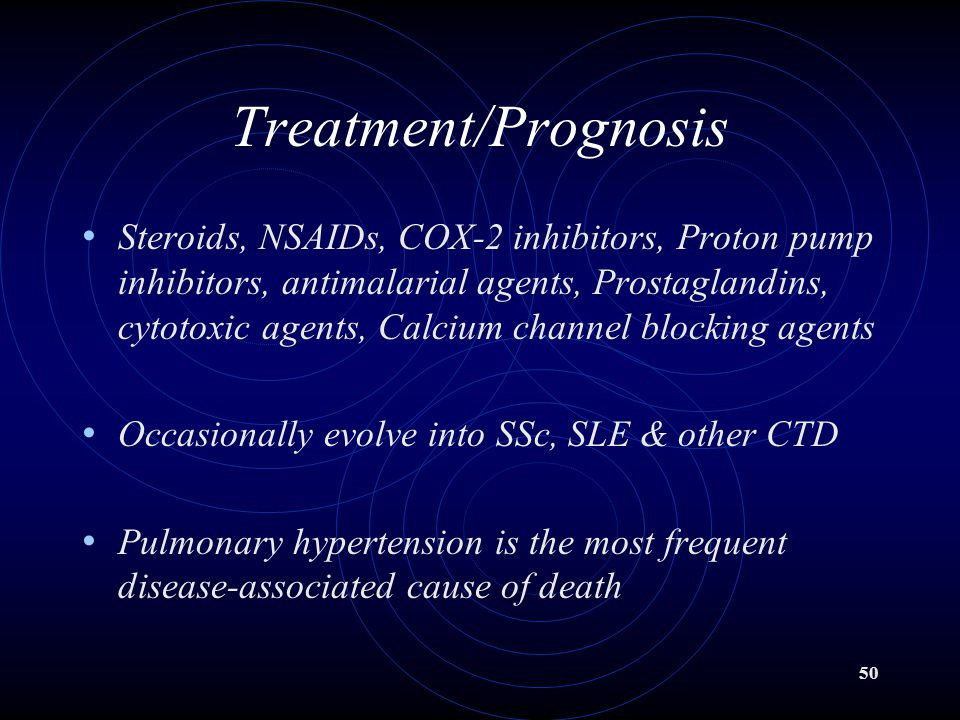 50 Treatment/Prognosis Steroids, NSAIDs, COX-2 inhibitors, Proton pump inhibitors, antimalarial agents, Prostaglandins, cytotoxic agents, Calcium chan