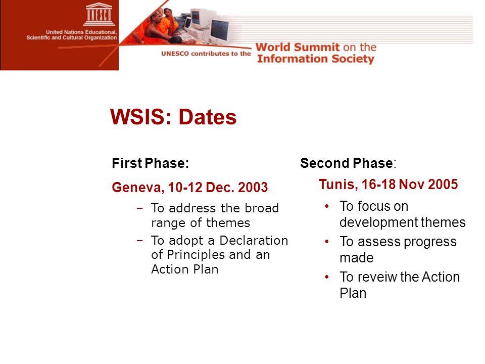 WSIS: Dates First Phase: Geneva, 10-12 Dec.