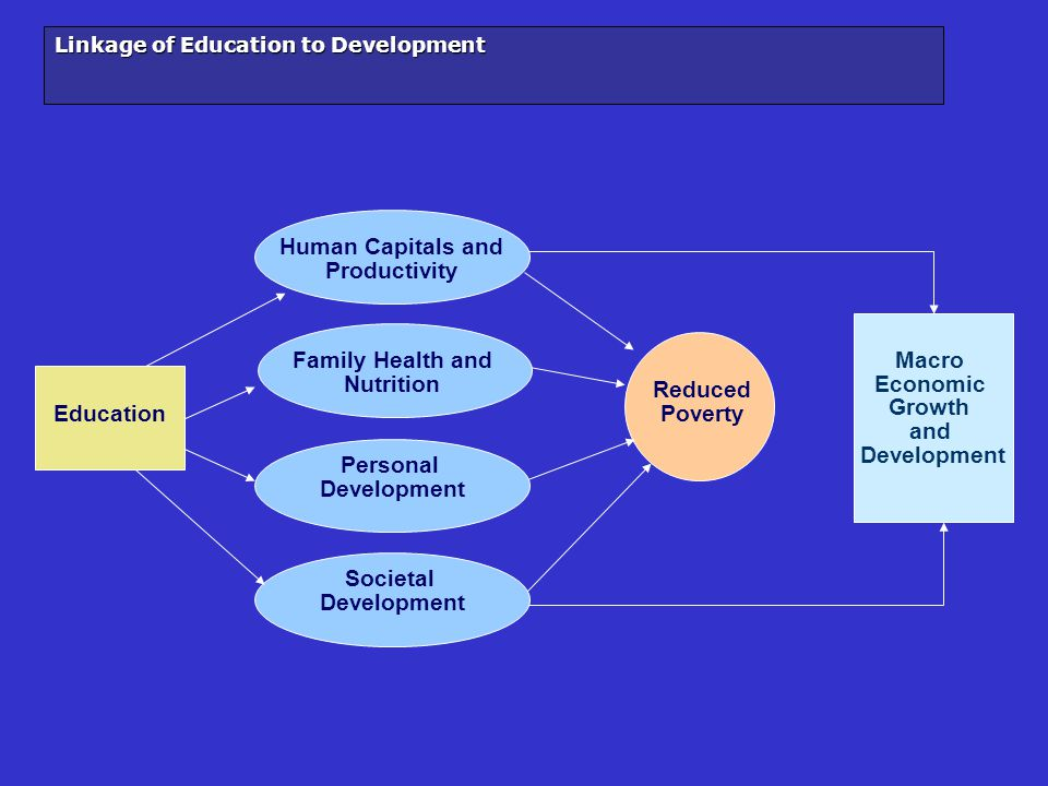 Linkage of Education to Development Education Human Capitals and Productivity Reduced Poverty Macro Economic Growth and Development Family Health and Nutrition Personal Development Societal Development