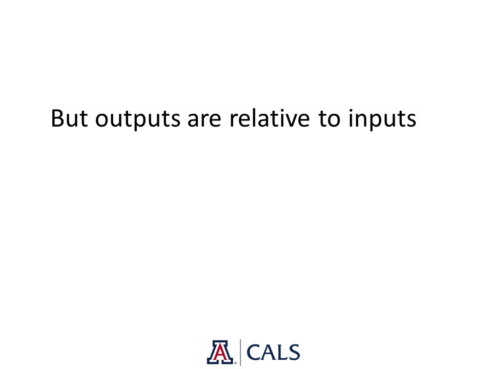 But outputs are relative to inputs
